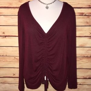 A New Day Burgundy Gathered Drawstring Top